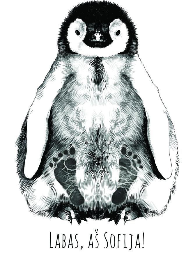 """Pieštas paveikslas """"Pingvinas"""" su antspaudais"""