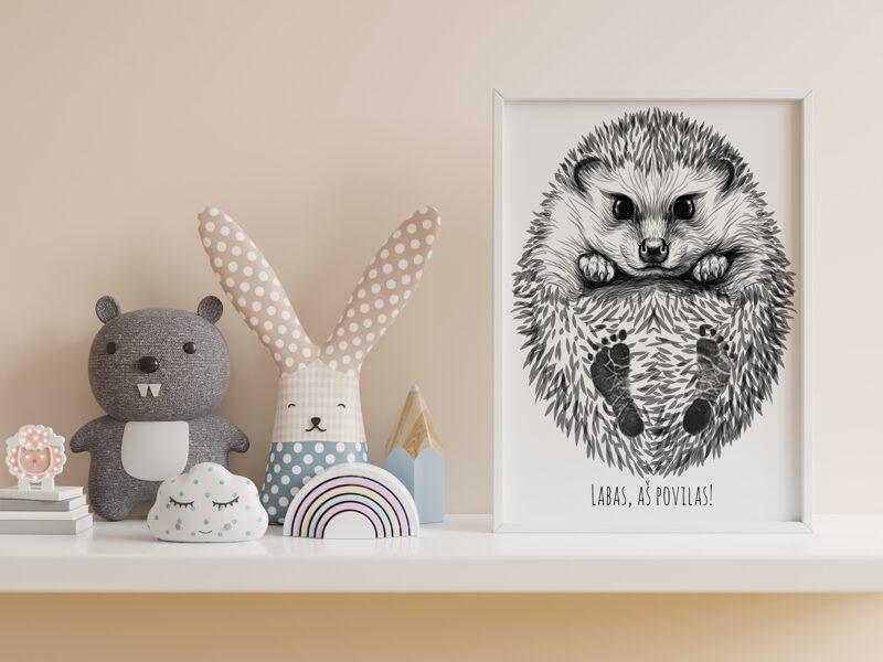 Personalized Baby Hedgehog Footprint Kit
