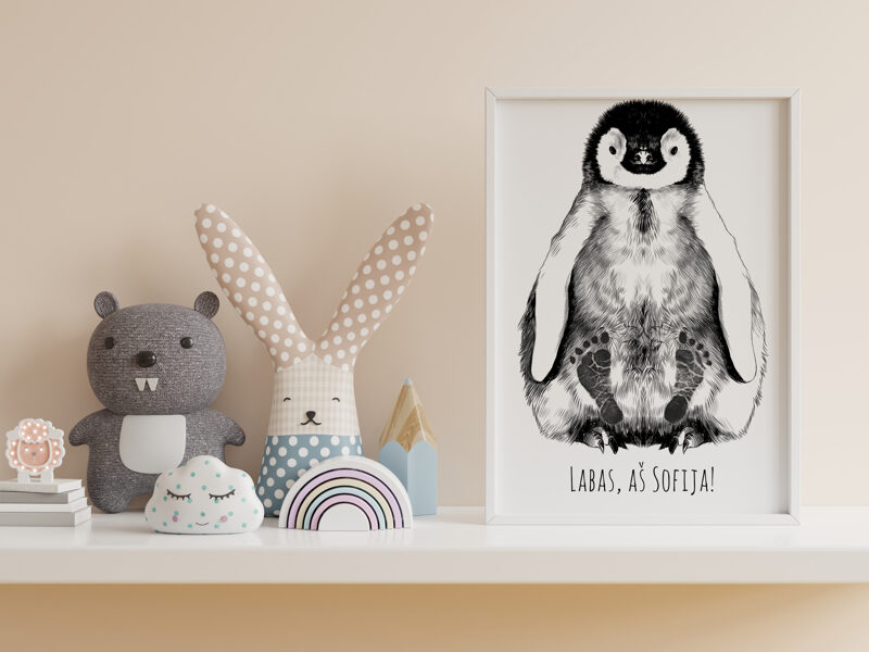 Personalized Baby Penguin Footprint Kit